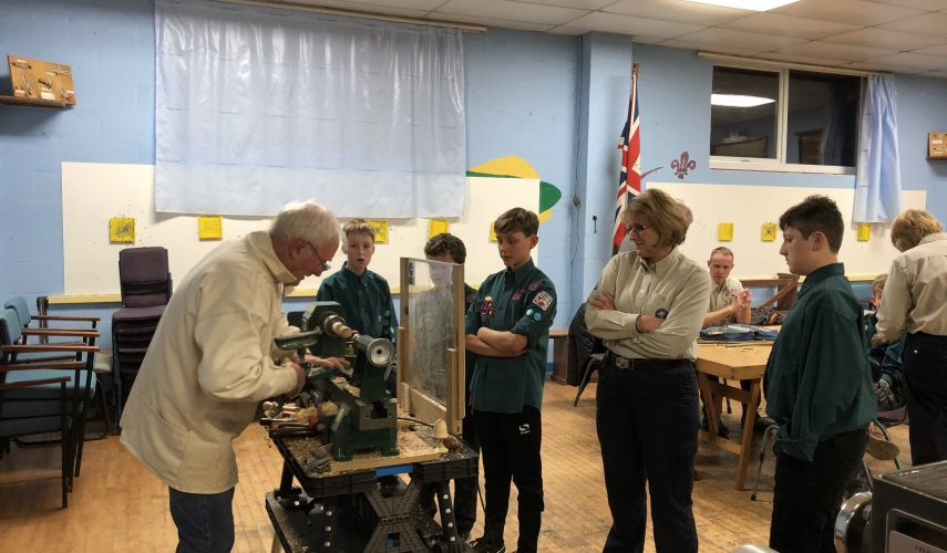 Scouts woodturning demonstration