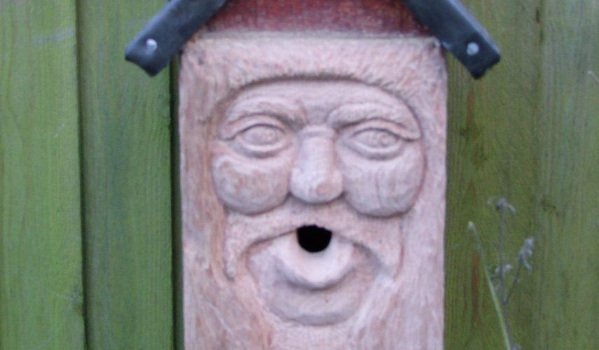 Carved bird box